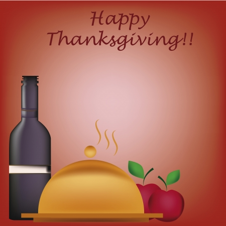 a bottle of wine with a golden dish and some apples in thanksgiving day Vector
