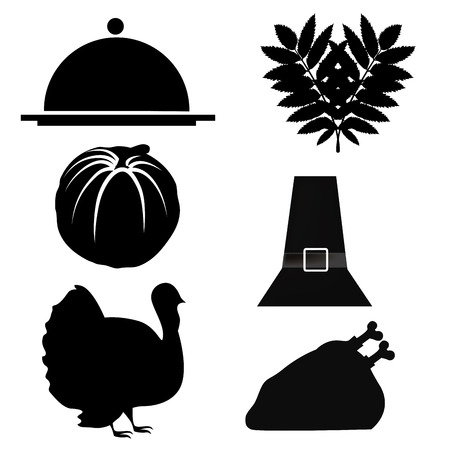 six silhouettes related to thanksgiving stuff like food and tradition Vector