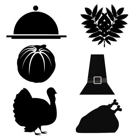 sześć sylwetki związane dziękczynienia rzeczy, jak jedzenie i tradycji