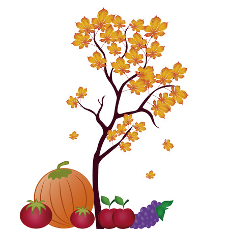 a tree with leafs and some tomatos, pumpkin, apples and grapes Vector
