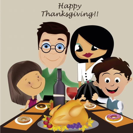 a family celebrating thanksgiving day with a turkey Vector