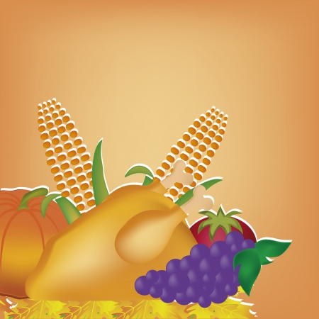 a lot of food for thanksgiving day in an orange background Vector