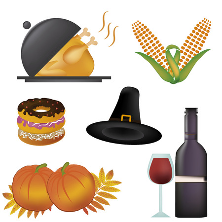 a lot of icons related to thanksgivind day with its respective colors Vector