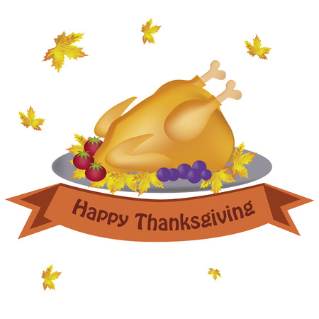 some leaves falling down and a turkey with tomatos and grapes and a ribbon Vector
