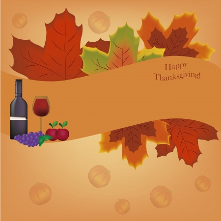 a bottle of wine with grapes and apple and a ribbon with leaves around it Vector