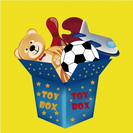 a blue toy box with a lot of toys inside it