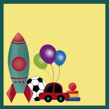 colored toys including a rocket, soccer ball, car, balloons in a yellow background Vector