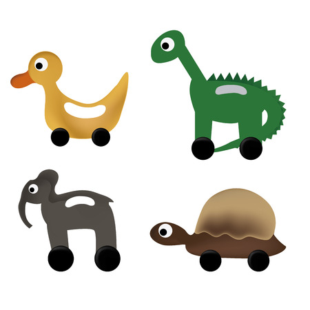 four animal toys with tire painted with respective colors Vector