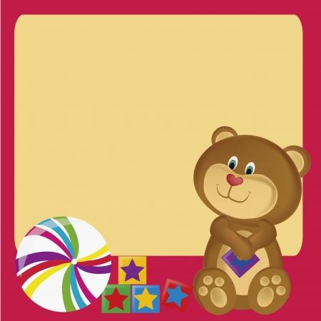 a teddy bear with star cubes and a beach ball Vector