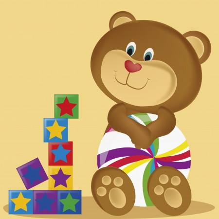 a teddy bear with a heart shaped red nose and a beach ball with star cubes Vector