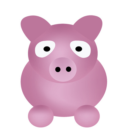 a pink pig drawed only with circles in white background Vector