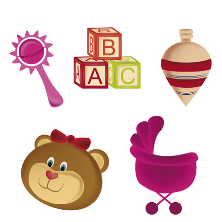 five different colored toys for kids or babies to learn  Vector