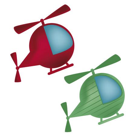 dos helicópteros rojo y verde con rayas y una ventana azul