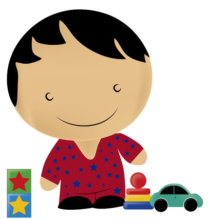 a boy with star pijama playing with his toys Vector