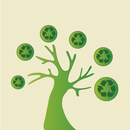 recyclable: a green tree with green recyclable icons in a white background