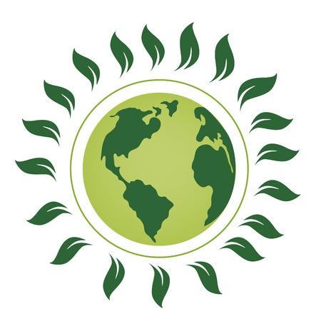 zielona planeta z wieloma zielonymi listkami wokół niego