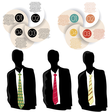 an infographic design with three business man and some dots Vector