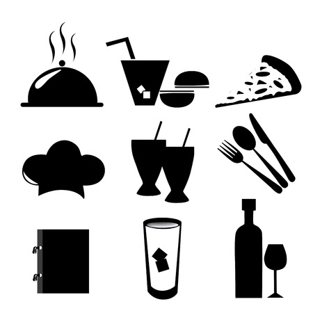nine silhouettes of icons people can use in the menu Vector