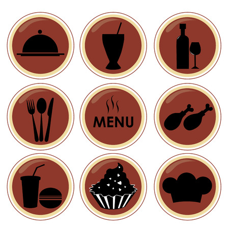 nine different silhouettes of menu elements in red circles Vector