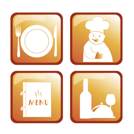 four icons of a chef, utensils, wine and menu for menu design Vector