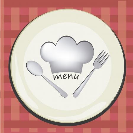 chapeau blanc: un plat blanc avec un chapeau blanc et des ustensiles blanc dans un fond carr� rouge Illustration