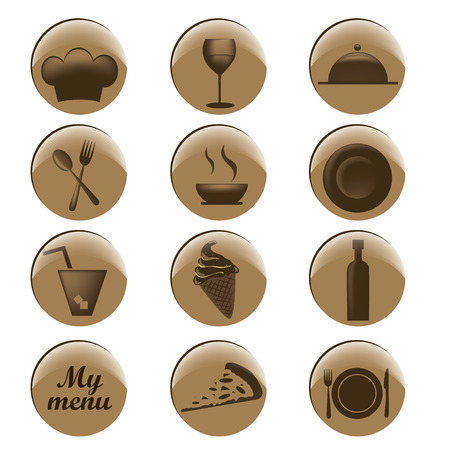 twelve brown icons in circles for menu design