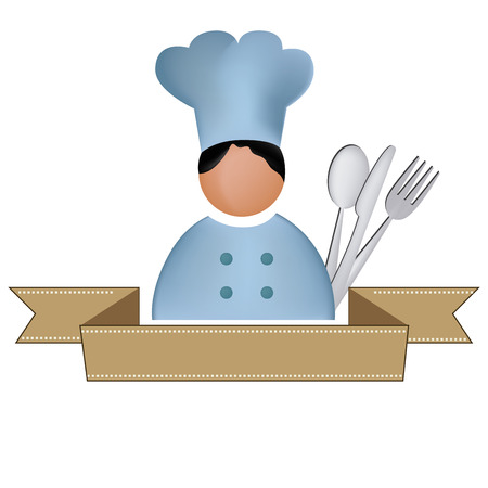 a fat chest with white hat and some utensils and a ribbon Vector