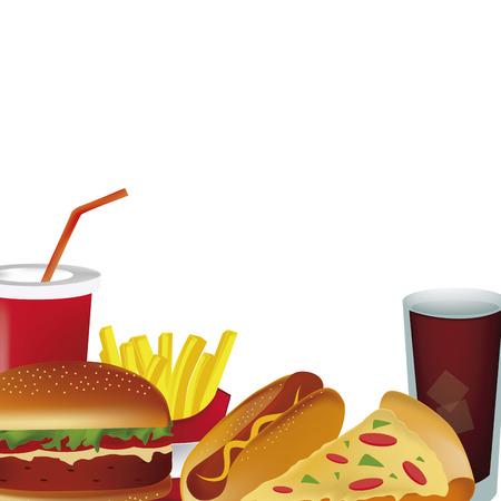 多くのファーストフード、ホットドッグ、ピザ、コーラ、ハンバーガーとフライド ポテトを含む  イラスト・ベクター素材