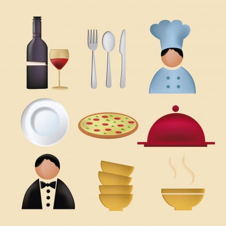 nine icons for menu including wine, chef, pizza, dishes and some utensils Vector