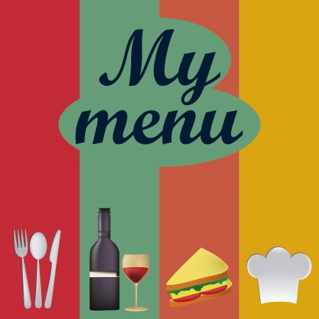 a colored menu with utensils, wine, sandwich and a hat with some text
