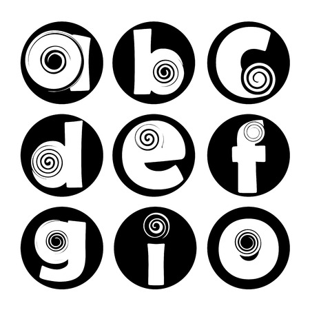 nine black and white letters with spirals withing them Vector