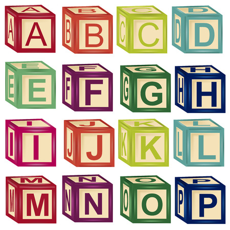 some colored letters in cube toys with different colors Vector