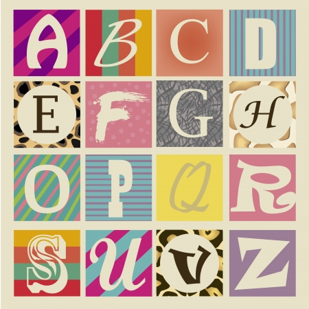 white letters: sixteen white letters with different backgrounds and colors Illustration