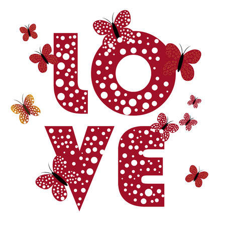 word love: four different letters for valentine and some butterflies around it