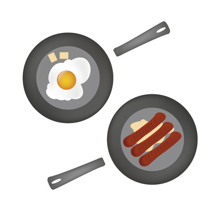 bacon love: two hot dishes with hot sausages and an egg Illustration