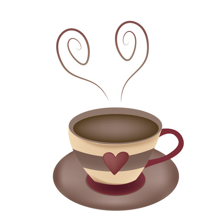 a delicious hot coffee with a heart in its steam in a beautiful mug Vector