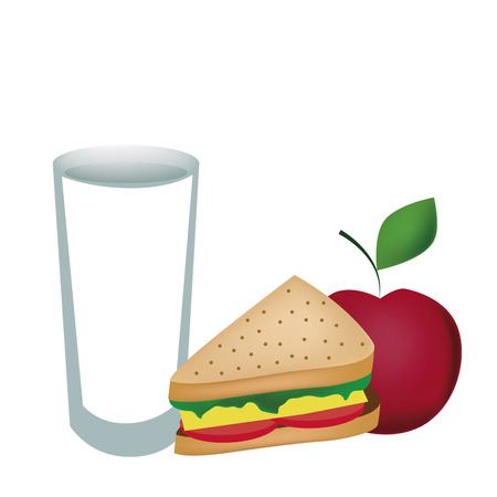 sandwiche: a cold milk with a sandwiche and an apple for breakfast