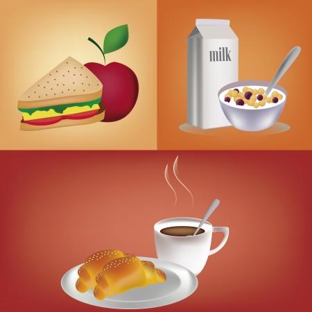 sandwiche: tre colazione diversa e colorata per le persone