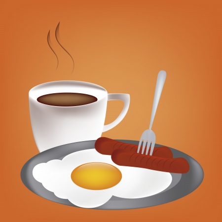 composed: a delicious breakfast composed by a coffee, an egg and two sausages