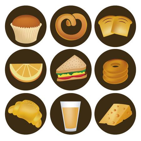 sandwiche: nine icons of bread, wheat, sandwiche, orange, juice and cheese for breakfast Illustration