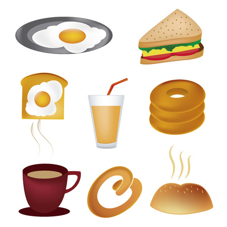 sandwiche: eight colored icons for food related to breakfast
