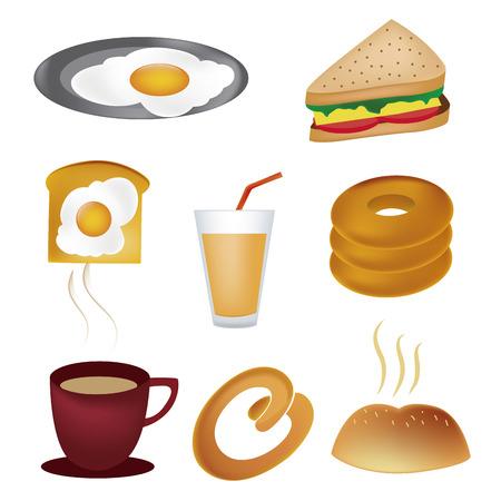 sandwiche: otto icone colorate per i prodotti alimentari legati alla colazione Vettoriali