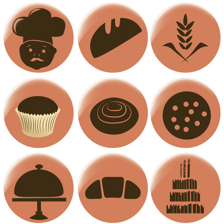 nine brown bakery icons in pink circles Vector