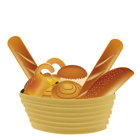 bread basket: a lot of wheat products in a yellow basket