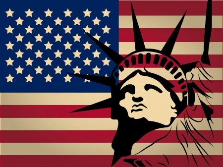 the america flag with colors and the silhouette of statue of liberty Vector