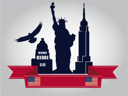 empire state: a lot of blue silhouettes with a red ribbon with the american flag