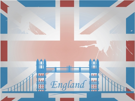 the england flag with a blue silhouette of a bridge Vector