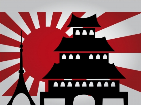 the old japan flag with some black silhouettes of some buildings