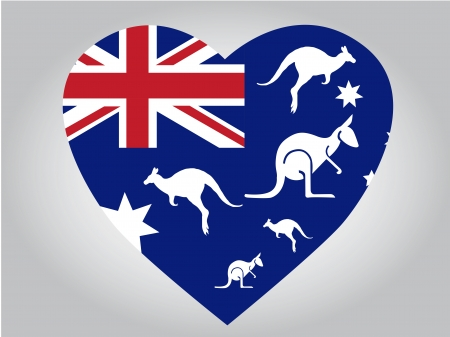 the australia flag with some white animal silhouettes in a heart