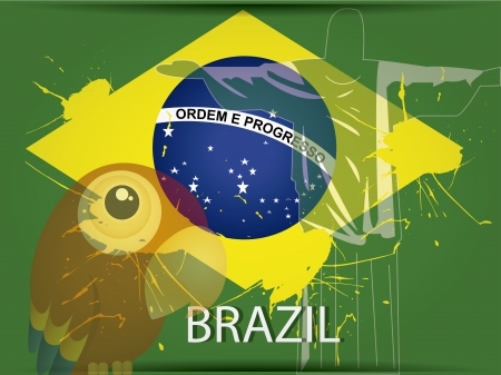 cristo: the brazil flag with a green silhouette of cristo rey and a bird Illustration